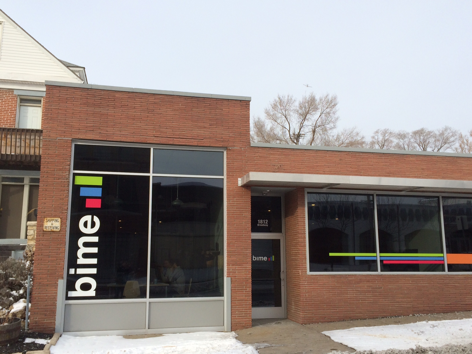 Cold weather, warm colors     1812 Broadway Blvd, Kansas City, MO  .    BIME headquarters   located in the entrepreneurial hotbed of 'The Crossroads' neighborhood of KC,