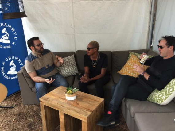 Noell and Michael of Fitz and the Tantrums sitting down with Joey at the Austin City Limits Music Festival