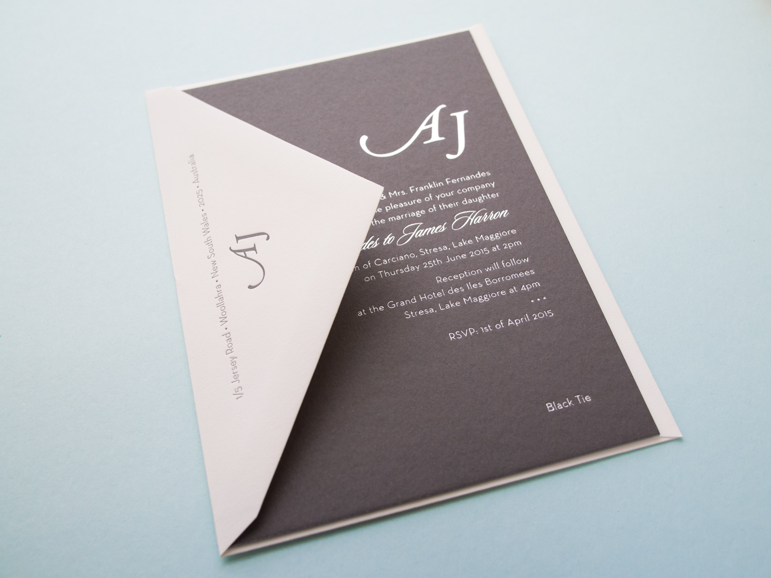 Monogram Foil Invitation With Envelope