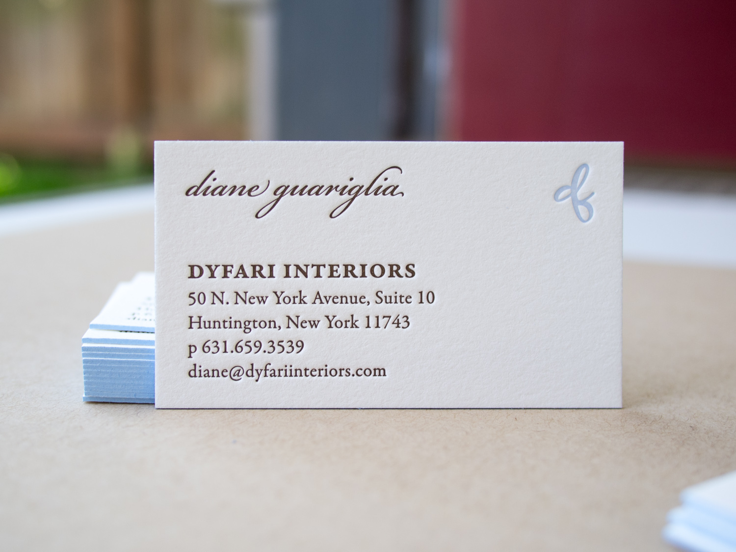 Dyfari Interiors Letterpress Business Card
