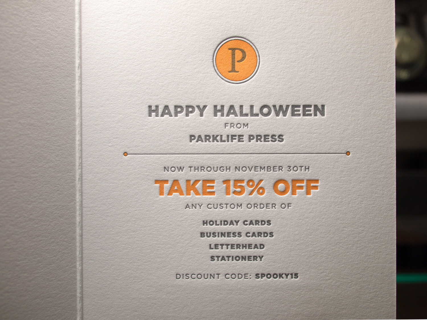 Our Letterpress Halloween Card = 15% Off Business Orders