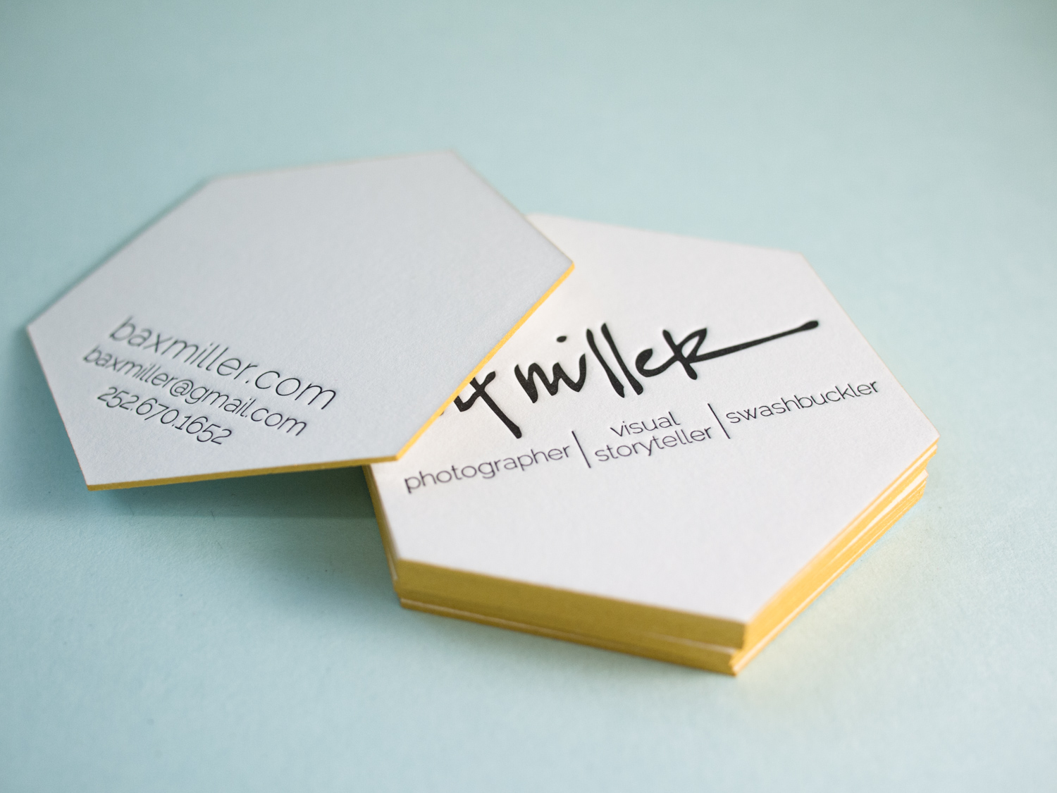 Hexagonal Letterpress Business Card