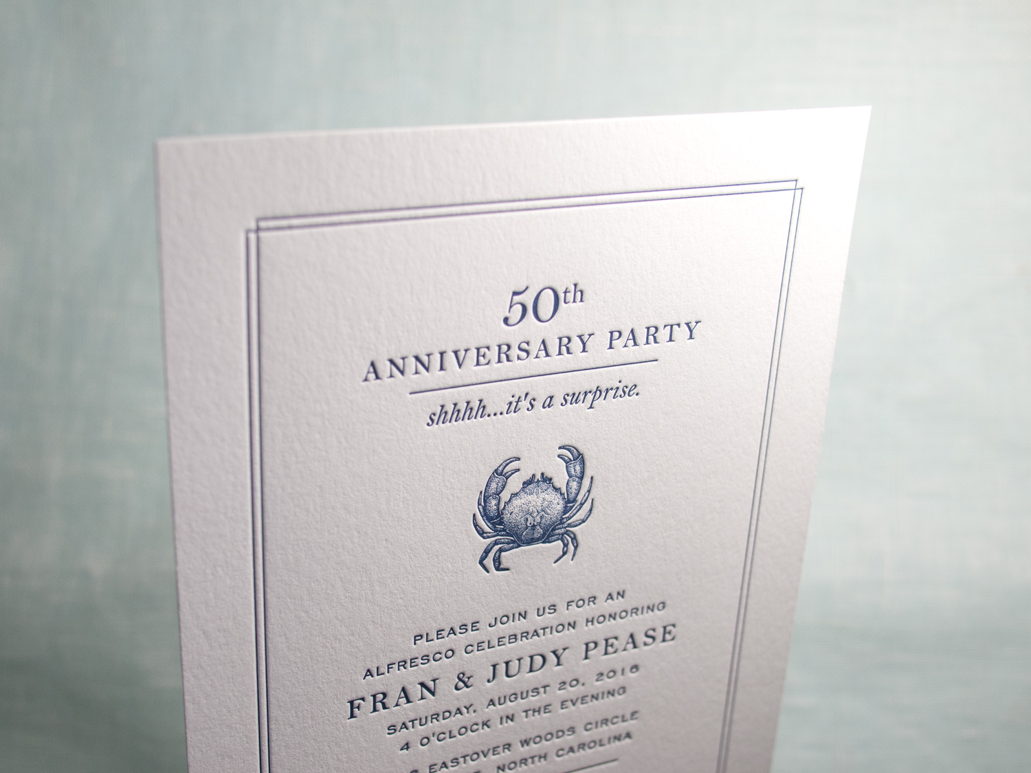 Letterpress Anniversary Invitation