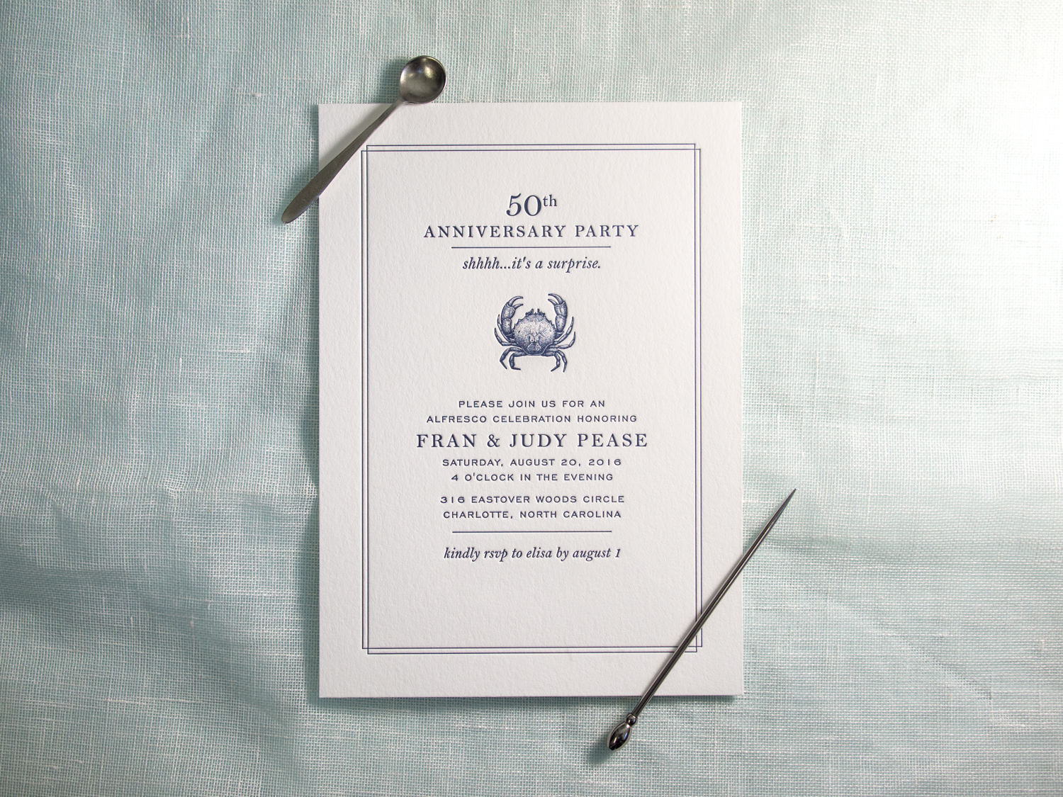 Letterpress Crab Invitation
