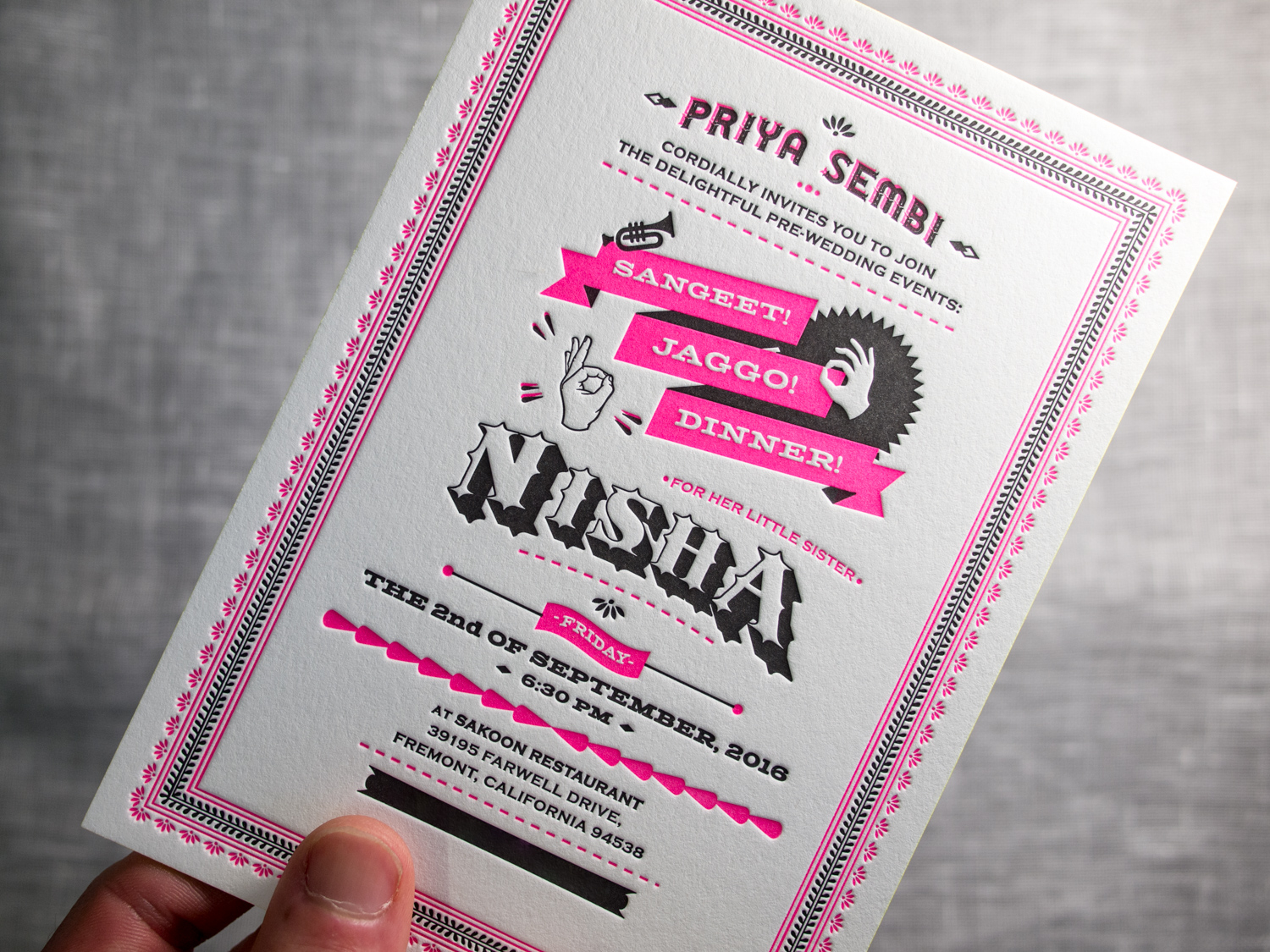 Fluorescent Letterpress Invitation