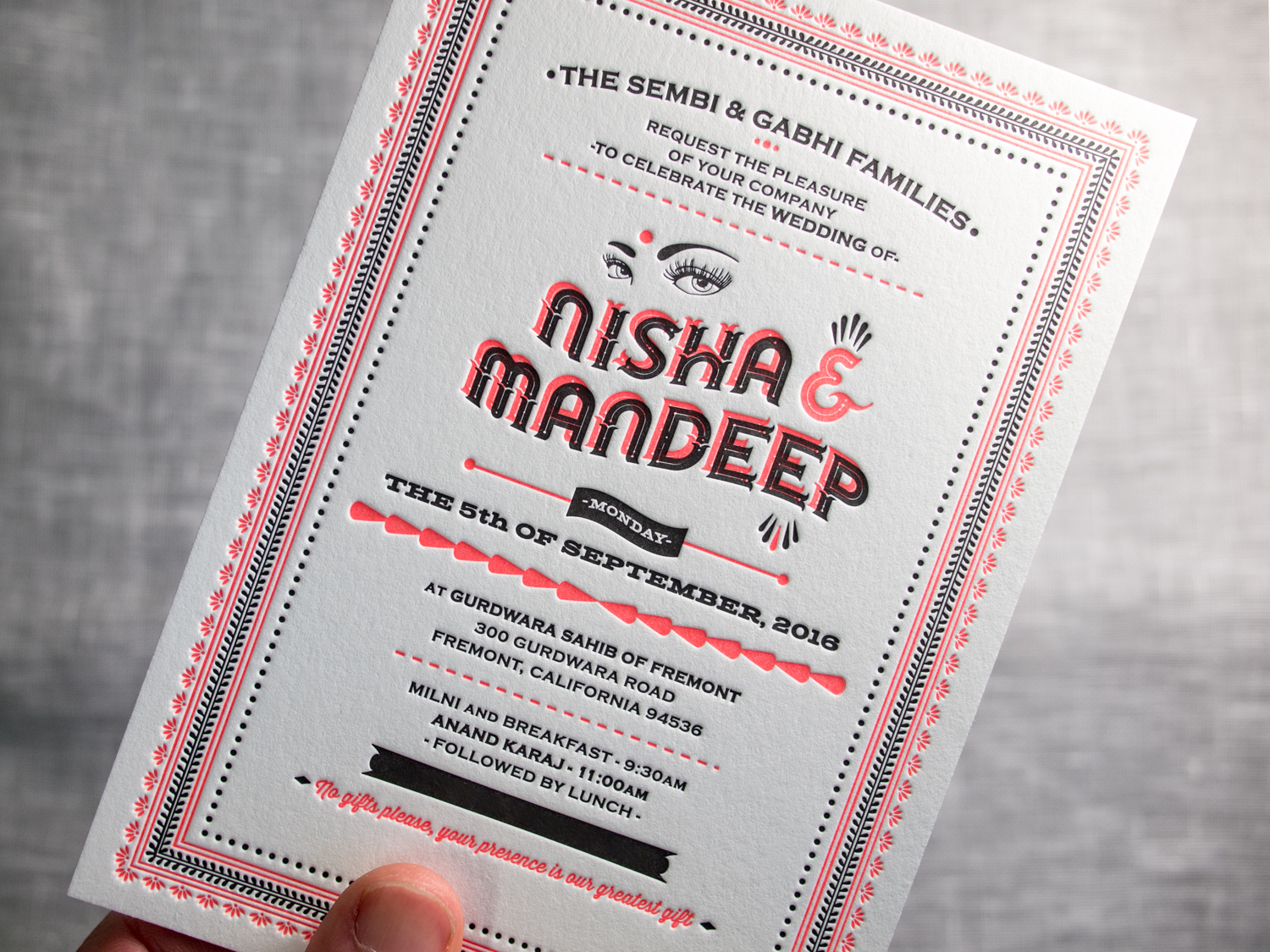 Indian Letterpress Invitation