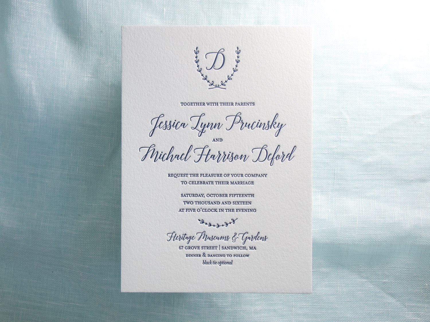 Monogram Letterpress Invitation