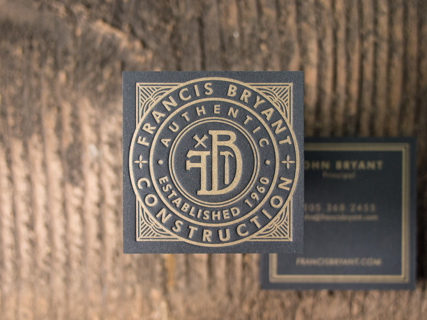 Gold on Black Letterpress Business Card