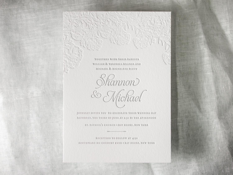 Floral Letterpress Invitation