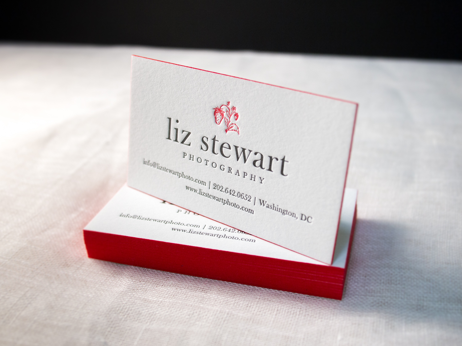 Letterpress Business Card With Red Edges
