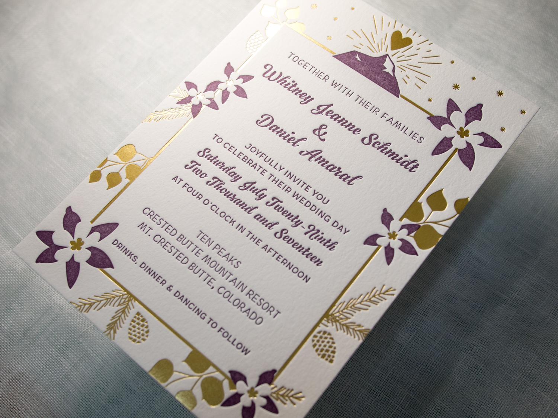 Mountain Letterpress Wedding Invitation