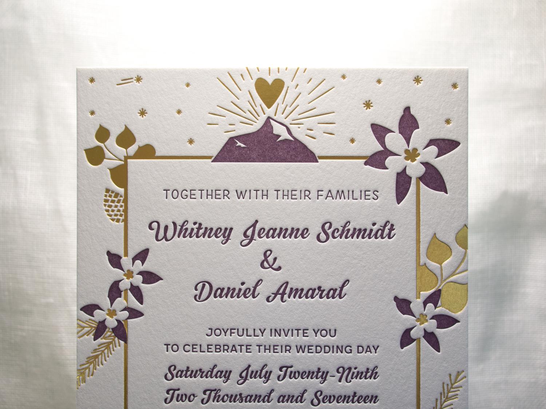 Gold Satin Foil Wedding Invitation