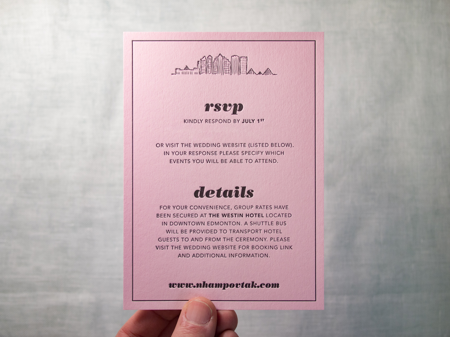 Letterpress Details Card on Colorplan Candy Pink