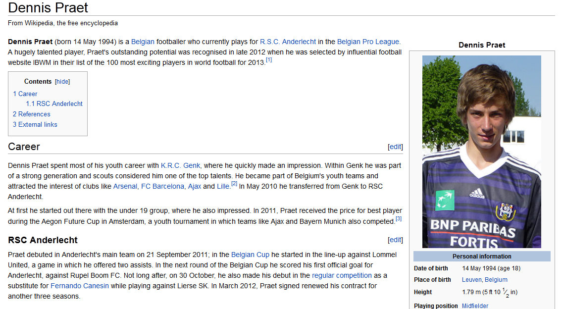 Wikipedia, current (one of several hundred high profile backlinks).