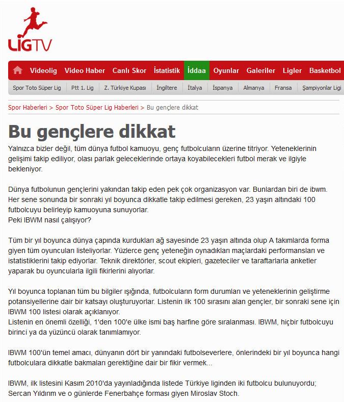 LigTV (Turkey), December 2013