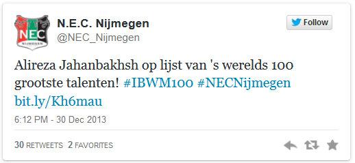 NEC Nijmegen Twitter, December 2013