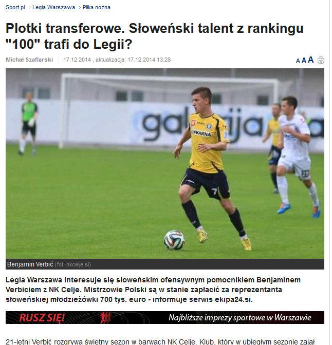 Legia Sport, Poland, December 2014