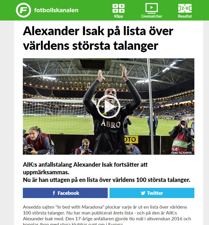 Fotbollskanalen, December 2016