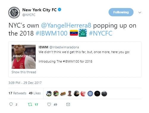 NYCFC Twitter, December 2017