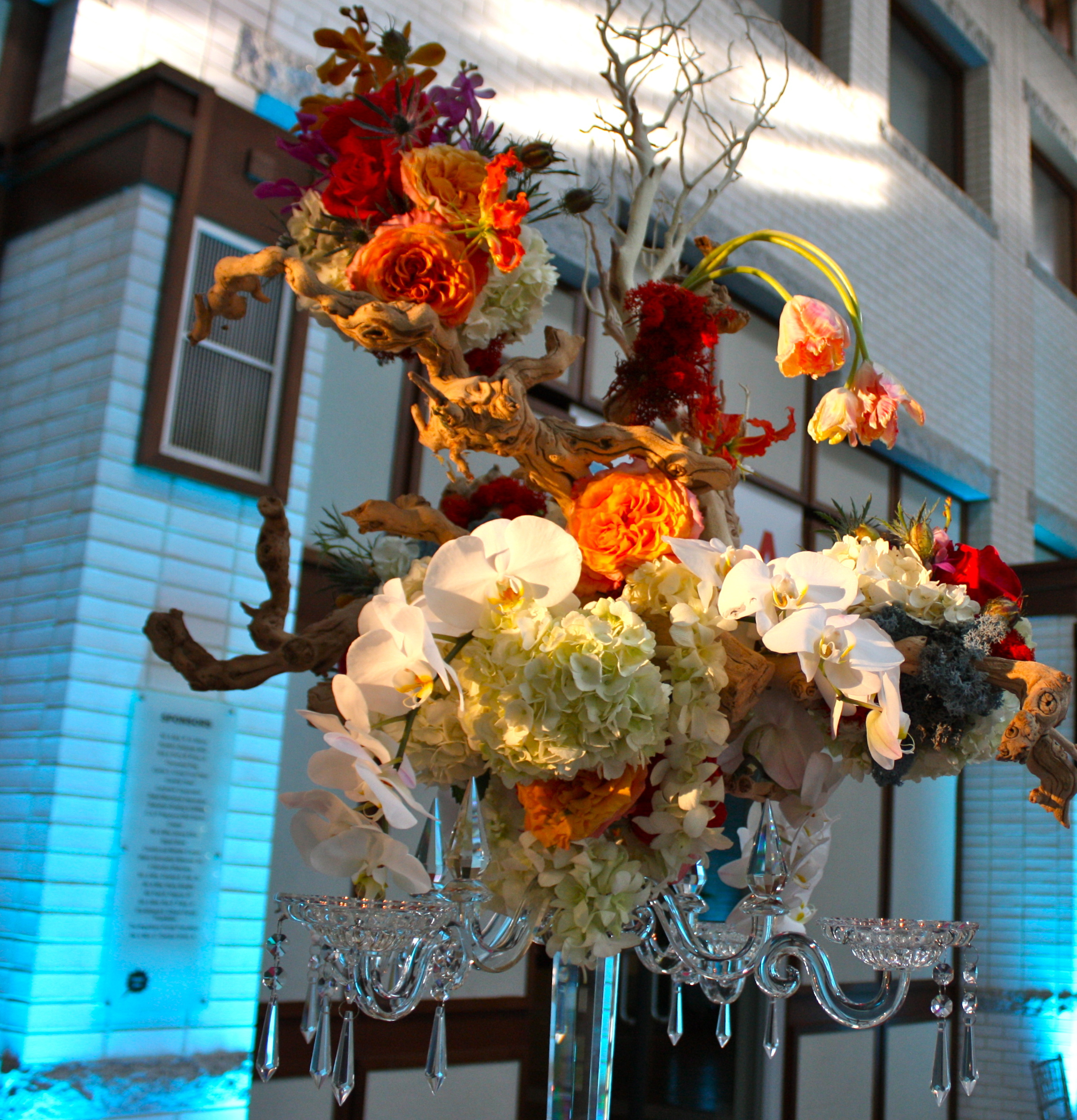 Large table centerpieces consisted of a crystal candelabra topped with grapewood branches covered in roses, hydrangeas, tulips, phalaenopsis orchids, gloriosa lilies, and moss.