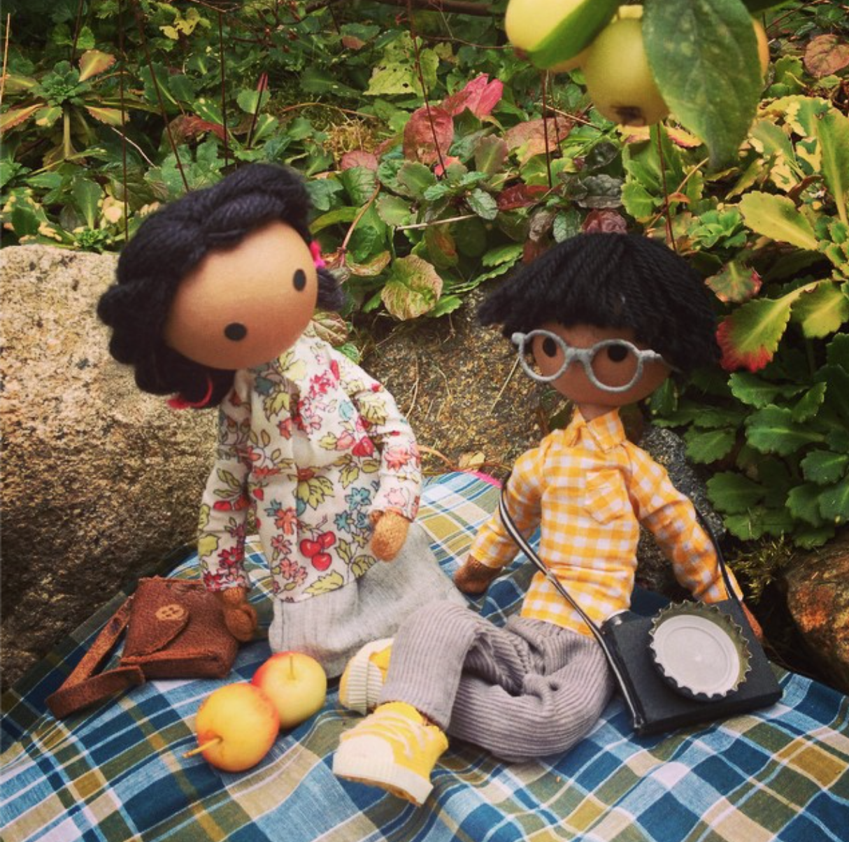 Having an apple picnic in the fall