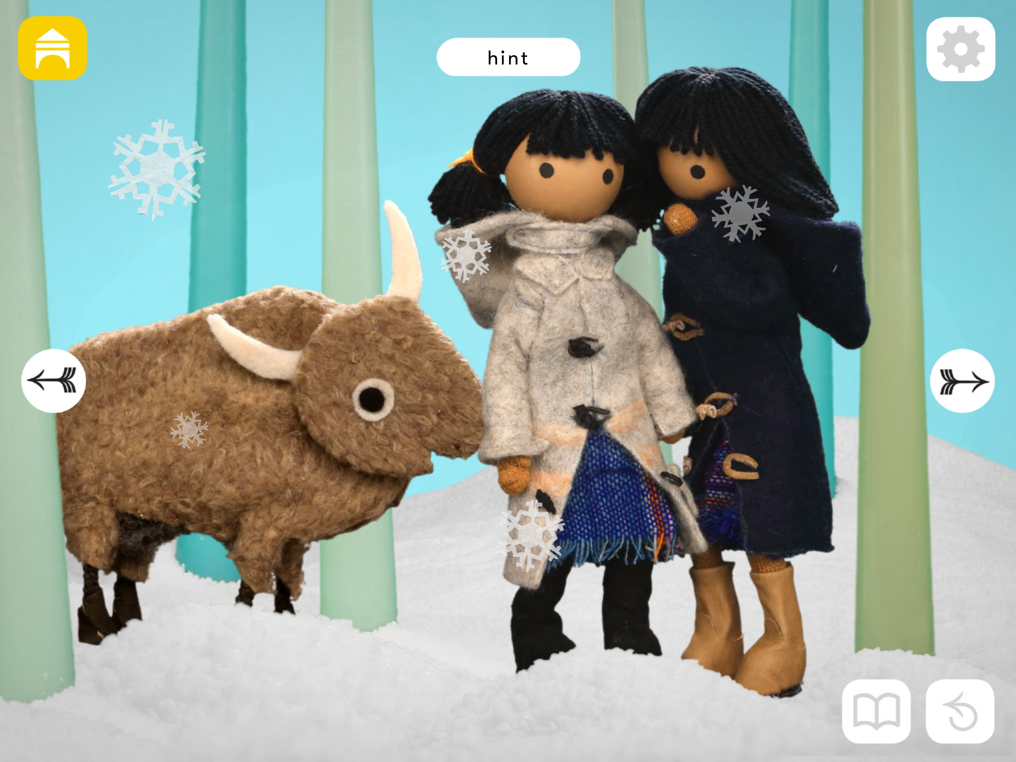 It's Tulip's birthday. Snowy & Chinook are wondering what to get their buffalo friend. Let's go ask our other animal friends.