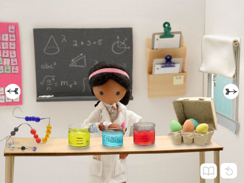 In our app you can touch all the items in Spring's lab and help her dye Easter eggs