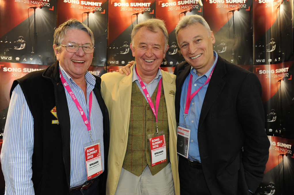 Jeremy Fabinyi with former AMPAL General manager Peter Hebbes (left) and CEO of the UK Music Publishers Association Stephen Navin (centre)