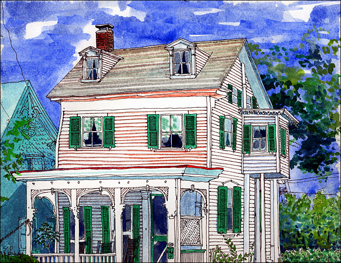 Another Sue Petticord pen and ink original of the Longfellow Guest House.
