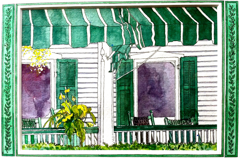 Another Sue Petticord original watercolor  of our front porch that overlooks Hughes Street. Hanging out on the front porch after a long day at the beach is a favorite memory growing up. You really get to take in the quiet beauty of old Cape May while catching up with friends and family.
