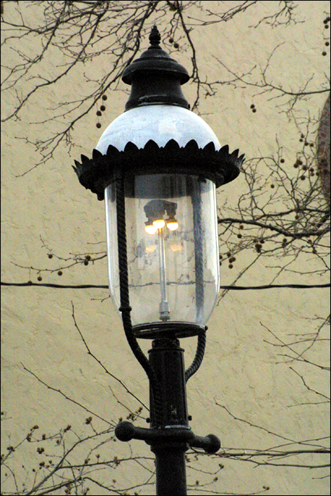 This authentic gas lamp post is on Hughes Street in front of our house.