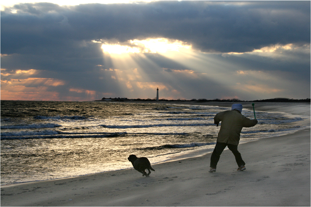 """"""" Yes Indeed There Is a Heaven, Just Ask the Dog""""  On the Cove Beach as heavenly rays blast through an ominous cloud formation."""