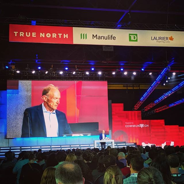 Ladies and gentlemen. Without this fella right here you wouldn't have MSN Messenger, wikipedia, Bitcoin, or sexy snaps. The great #TimBernersLee founder of the internet. #DecentralizedWeb #TrueNorth19 #TechForGood