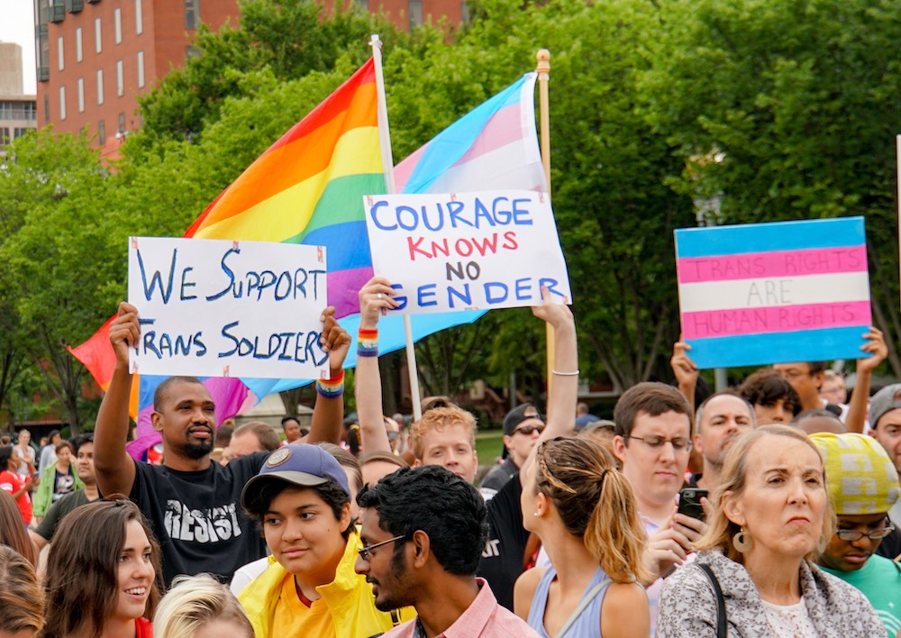 Participants at a July 2017 protest against the transgender military ban in Washington, DC. Image by Ted Eytan via  Flickr
