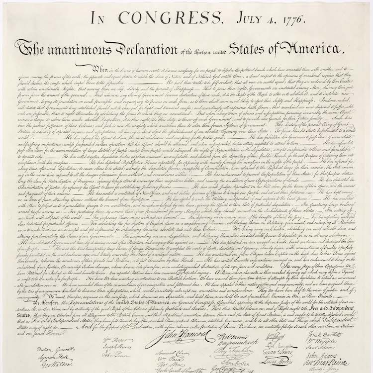 U.S. Declaration of independence (via  wikimedia commons )