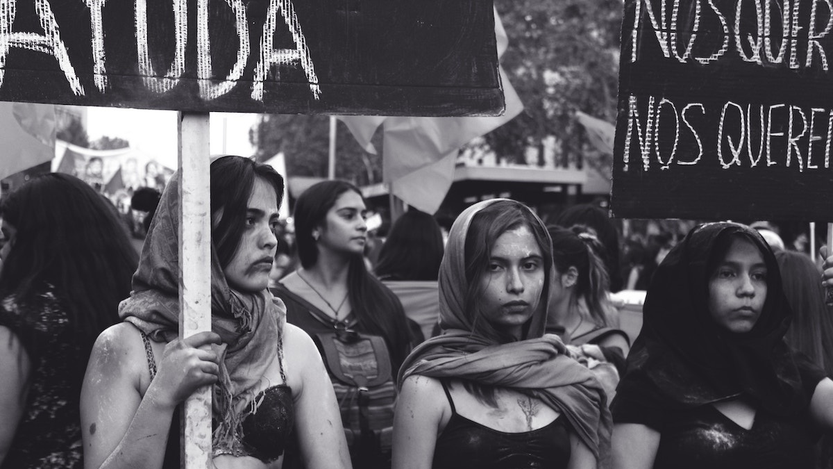 Women at a protest in Santiago, Chile (image by Laëtitia Buscaylet via  Unsplash )