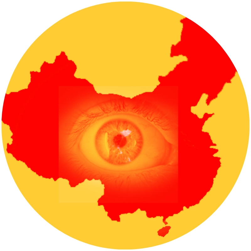 Image description: Outline of China in red against a yellow background. There is a semi-transparent image of an eye in yellow over the shape of China. (Credit: EFF)