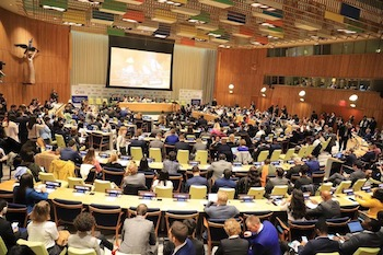 [Image description: Meeting room at the United Nations, seen from the back left corner. Most chairs have a person sitting in them, and are arranged in a semi-circle.]