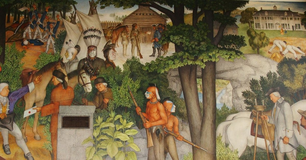 "One panel of ""The Life of Washington"" by Victor Arnautoff at San Francisco's George Washington High School"