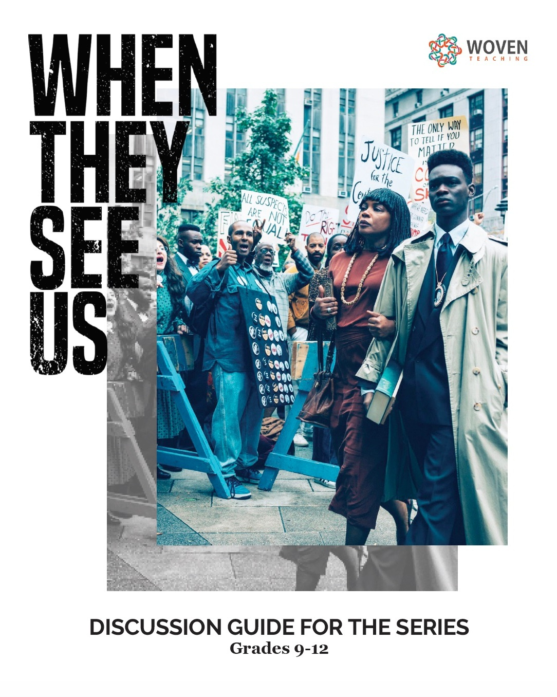 When They see Us  Discussion Guide cover featuring a still from the film (Yusef Salaam and his mother Sharonne Salaam)