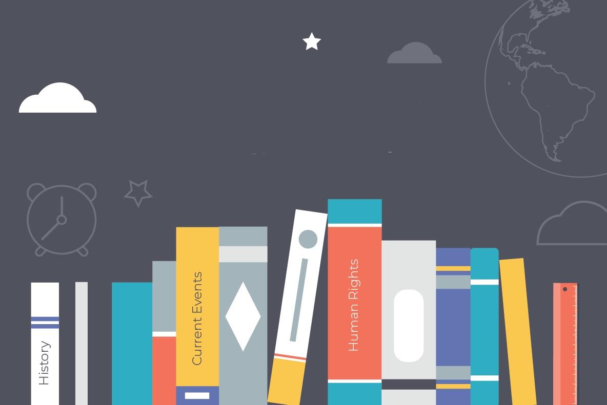 Illustration of books on a shelf