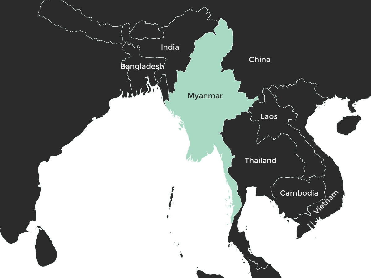 Map of Southeast Asia, with Myanmar indicated in green