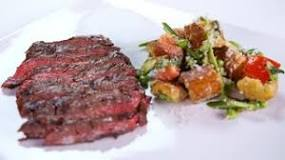 Grilled Skirt Steak with Asparagus and Pea Panzanella Salad.jpg