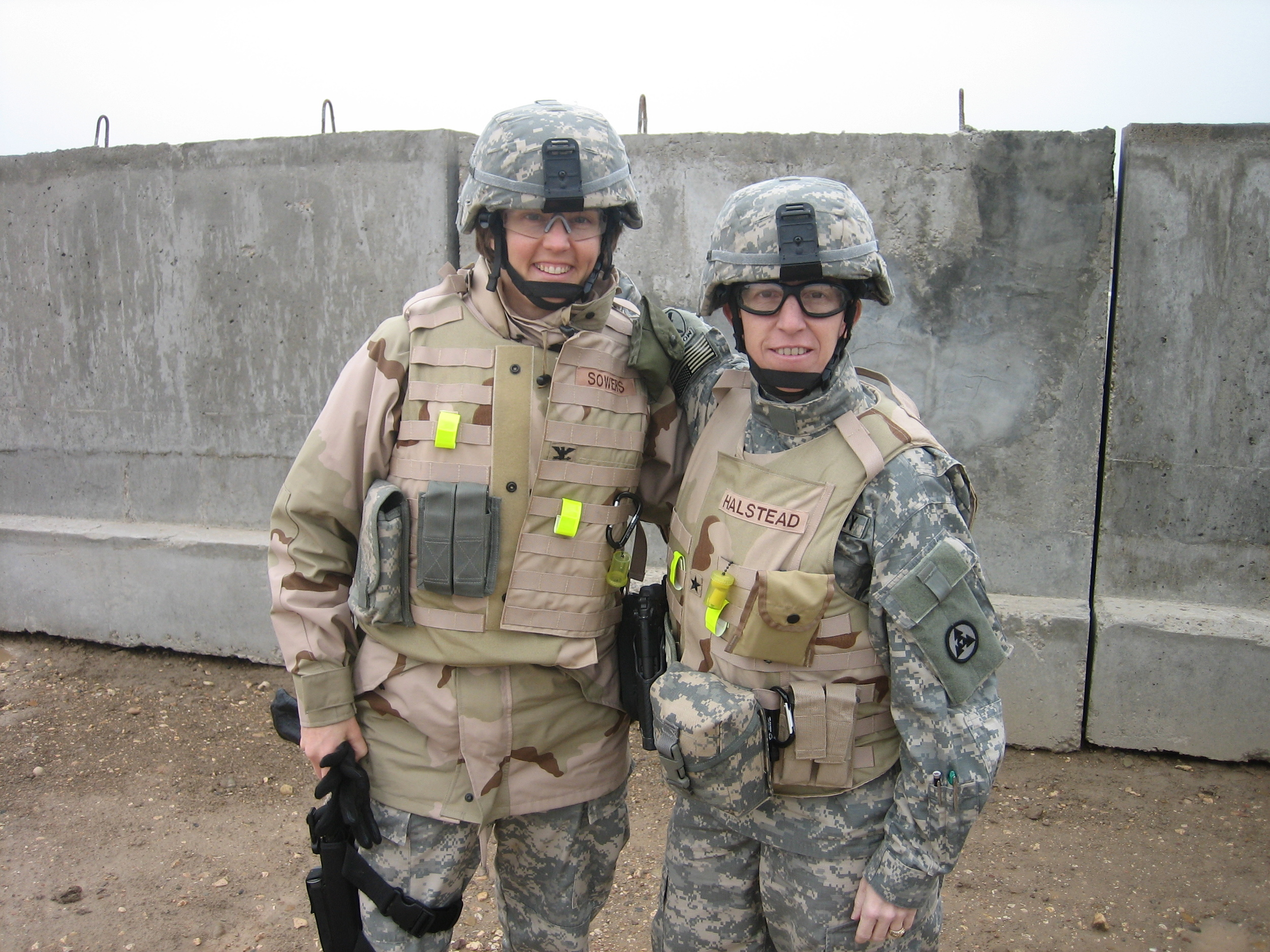 """Brigadier General Halstead and her Chief of Staff, Colonel Sowers. While commanding in Iraq, Halstead's command team was all women. """"We never highlighted it until we got home,"""" she says. """"We grew up in the Army together. We were company commanders in the same battalion. I look forward to the day when people look at this picture and see camaraderie, not female camaraderie."""""""