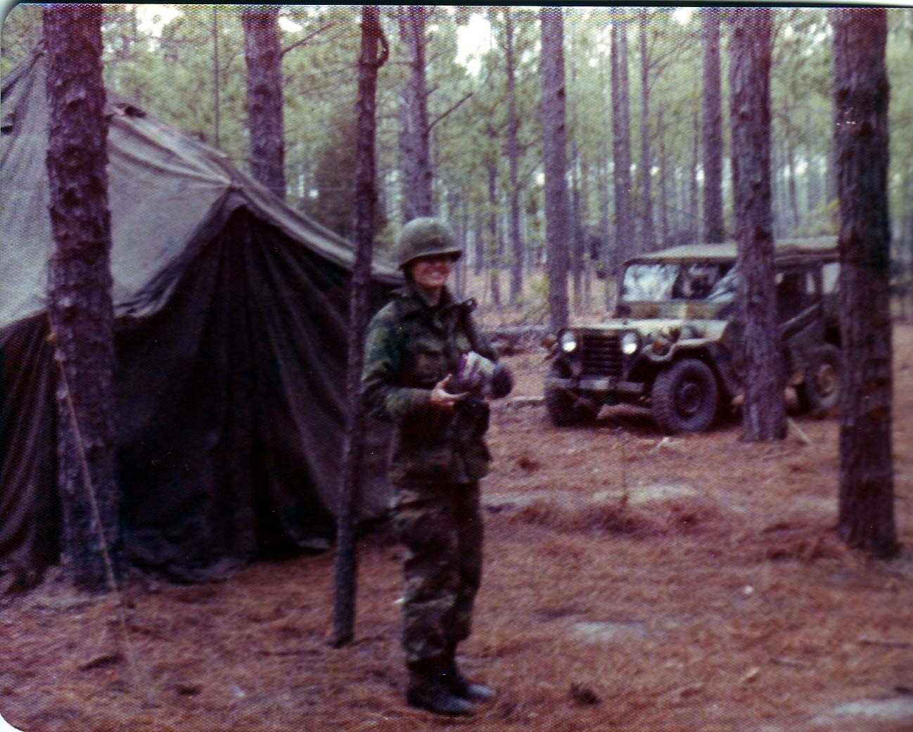 Siebrands on a field exercise at her initial Army training, 1976.