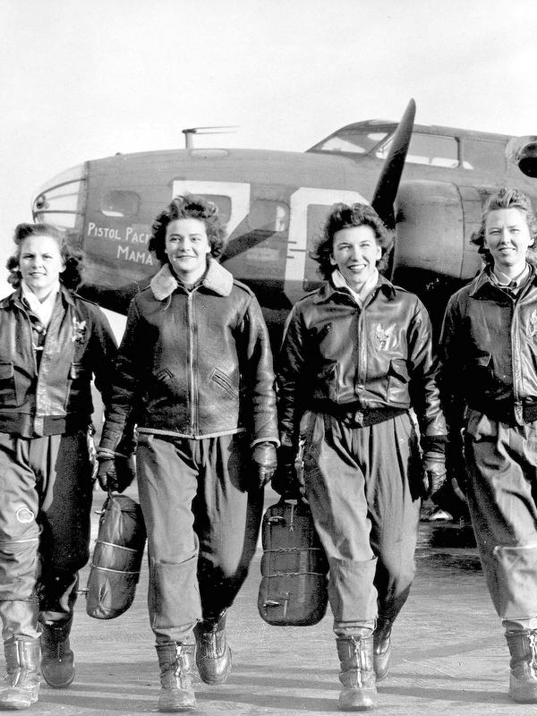 A group of WWII Women Air Force Service Pilots after flight