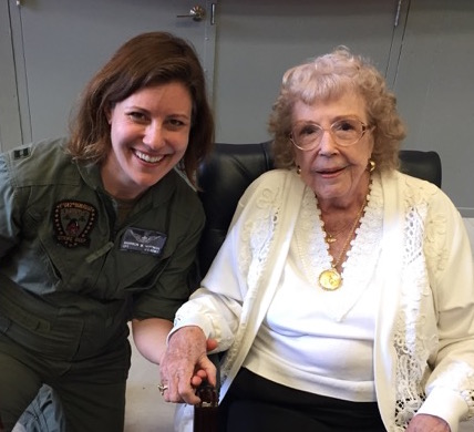 Past and present: author Shannon Huffman Polson with WASP (and author) Alyce Stevens Rohrer in 2016