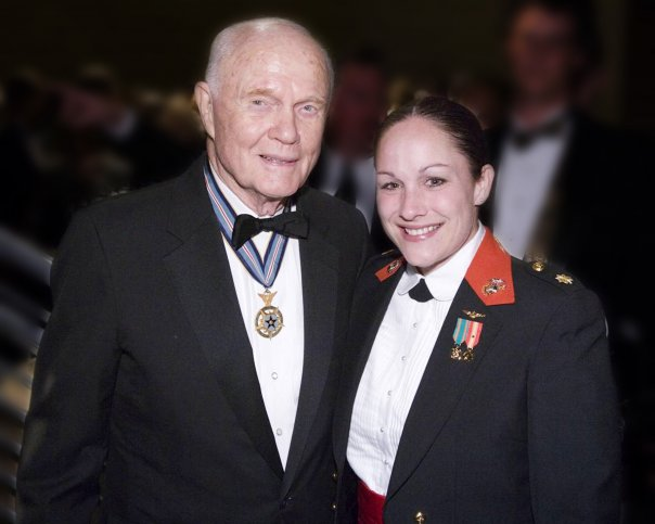 Nothelfer with John Glenn at the opening of the National Museum of the Marine Corps