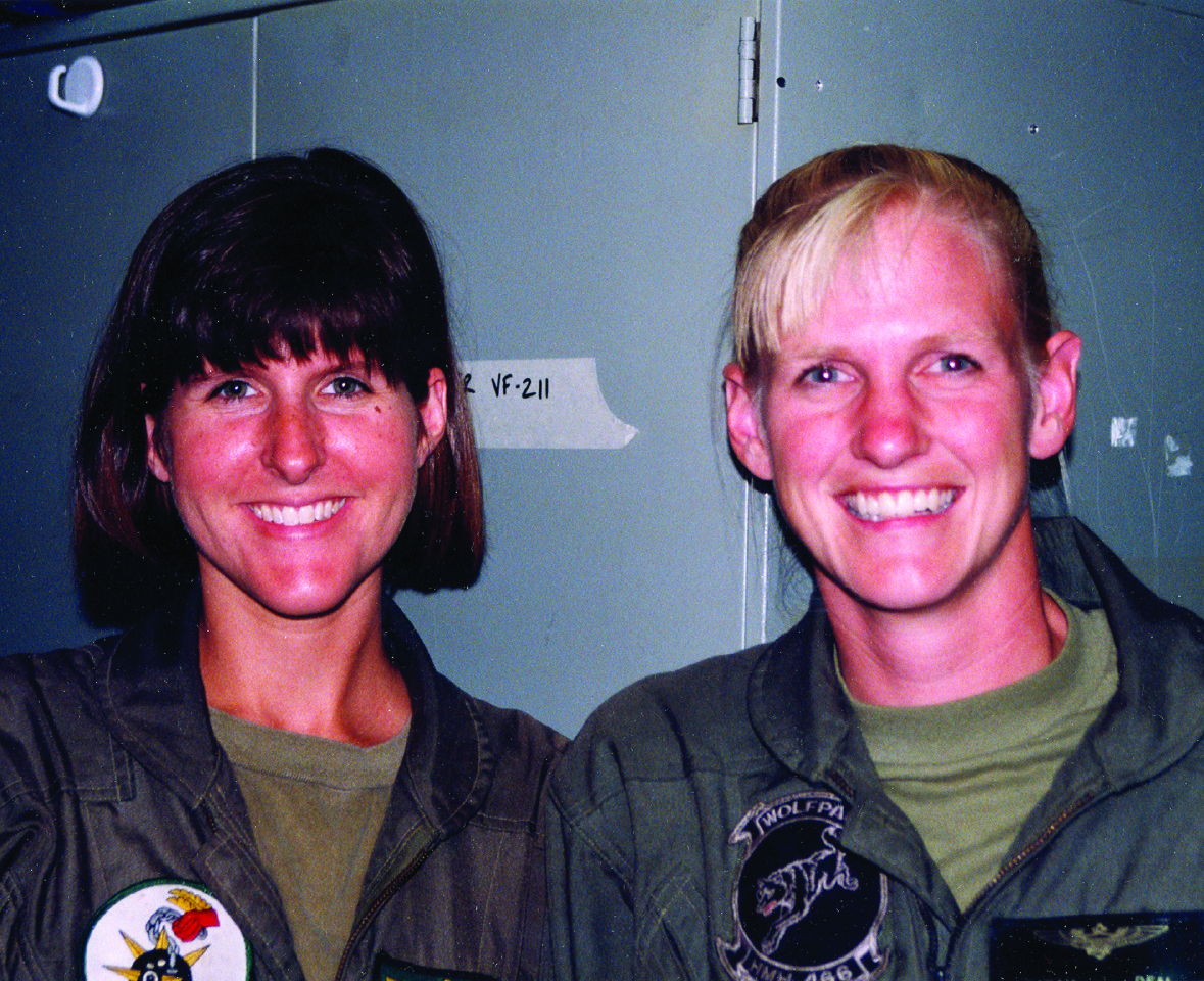 Deal and friend Karen Fine Brasch, naval aviator on board the U.S.S. Nimitz
