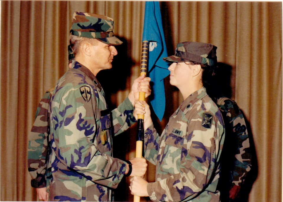 Dianna turning over her command with Battalion Commander Colonel Ben Brewer